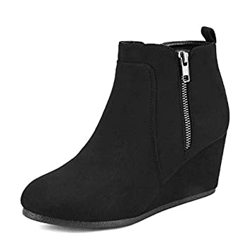 DREAM PAIRS Women s Low Wedge Heel Ankle Booties Double/Black/Suede 8.5 B M  US