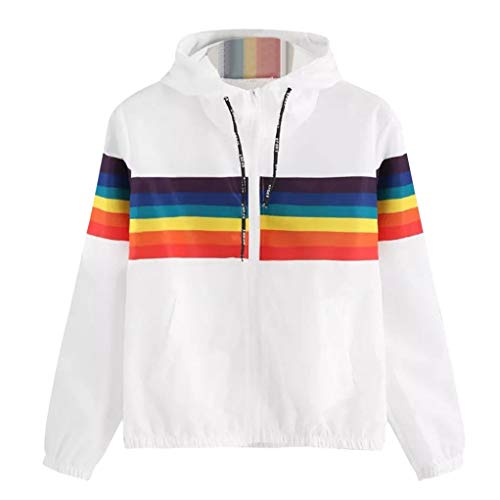 Hooded Windbreaker, Women Teen Girl Rainbow Striped Lightweight Zip up Sports Hoodie Jacket Coat (White, S)