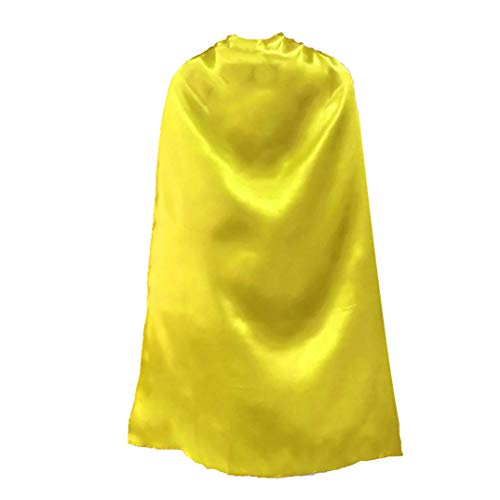 """Opromo Capas de superhéroe Satinado Disfraces de Halloween y Vestir para niños Adultos Yellow-27 1/2"""" H x 23 1/2"""" W"""