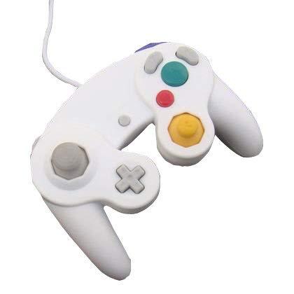 OSTENT Controle de jogo de choque com fio compatível com Nintendo GameCube NGC Wii Video Game cor branca