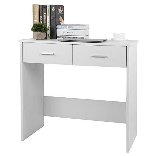 Zerone Mesa de ordenador para el hogar, oficina, escritorio compacto para computadora portátil, mesa de estudio en casa, escritorio con 2 estantes de almacenamiento para estudiantes, 80 x 40 x 75 cm