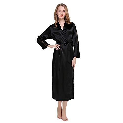 Pijamas Mujer Camisón Otoño Mujer Sexy Pijamas Ropa Interior Tentación Encaje Fajas Camisón Bata Albornoz Talla Única Negro