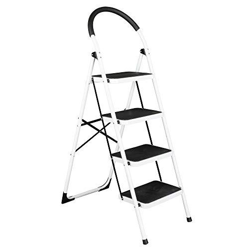 TimmyHouse Ladder Folding 4 Step Steel Work Platform Stool Heavy Duty Safety 330lb Capacity