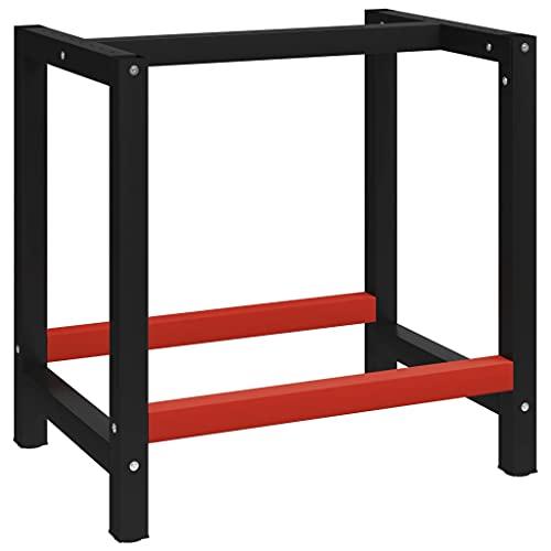 LINWXONGQP Material: Metal con Recubrimiento en Polvo Banco de Trabajo Estructura Metal Negro y Rojo 80x57x79 cm