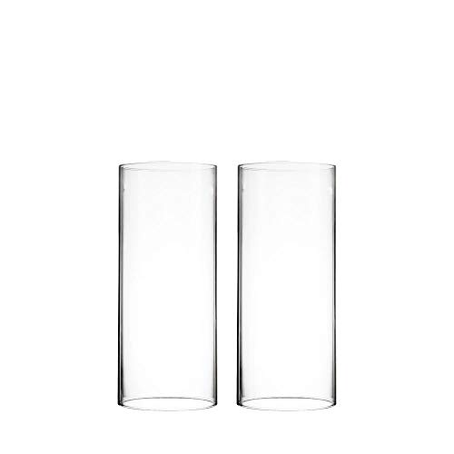 CYS EXCEL 2 PCS (H:9.5' D:4') Glass Hurricane Candleholder Tube Shade | Multiple Size Choices Open Flame Candle Chimney Tube Cover | Open Ended Cylinder