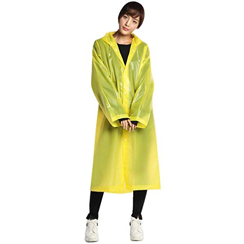 Garneck Herbruikbare Outdoor Regenjas Dikker Lichtgewicht Waterdicht EVA Regen Poncho Hoodie Jas Regenkleding Voor Camping Wandelen (wit) 115*65 cm Geel