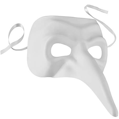 dressforfun 900890 Venezianische Maske mit Langer Nase, Unisex Schnabelmaske, einfarbige Augenmaske für Maskenball Party Fasching Karneval Halloween - Diverse Farben - (weiß   Nr. 303555)