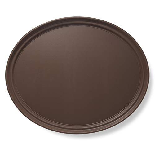 """Jubilee 25"""" Oval Restaurant Serving Tray, Brown - NSF Certified Non-Skid Food Service Tray -  OA25-BRN"""