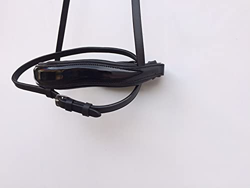 gs- Reitsport schwedischer Reithalfter mit Gebissausschnitt u. Nüsternwelle schwarz schwarz Lack (Warmblut Full)