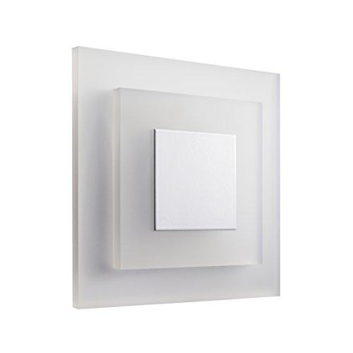 SET LED Treppenbeleuchtung SunLED Pyramid Kaltweiß 230V 1W PlexiGlas Treppenlicht mit Unterputzdose Treppen-Stufen-Beleuchtung Wandeinbauleuchte (ALU: Weiß; LICHT: Kaltweiß, 4 Stück)
