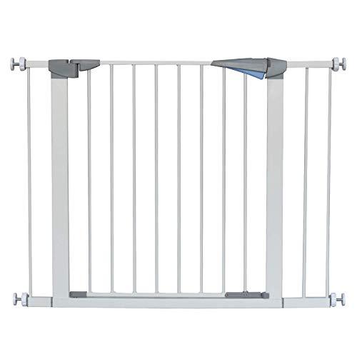 LEMKA Türgitter Baby Schutzgitter Treppe Treppengitter Auto-Close Metall Gittertür aus Metall,Baby Tür für Kindersicherheit,Einhand-Bedienung 7 & 14 cm Erweiterung für Treppen,79-105 cm Metallfarbe