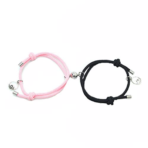 2pcs Couple Bracelets Rope Braided Magnet Attract Matching Bracelet For Women Men Adjustable Couple Jewelry Set Lover's Gift (Pink-Black)