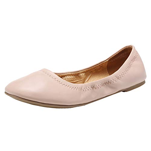 FANTURE Women Flats Shoes Ballet Flat Leather Foldable Portable Travel Roll Up Slipper Classy Round Toe Ballerina Casual Walking Shoes for Womens and Girl U420WZPPDX-Nude-38
