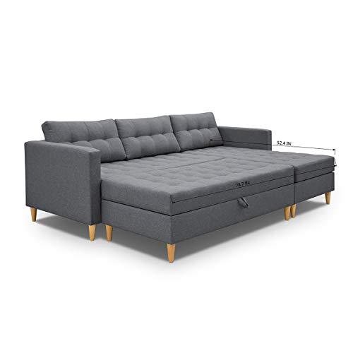 HOMYCASA 3er-Sofa-Bett, EIN Sofa mit einem Schlaf als Bett und Stau Fach darunter. Beschichtung grau Polyestergewebe, Holzrahmen, Federaufhängung, Füllen PU-Schaum, Massivholzfuß Anthracite