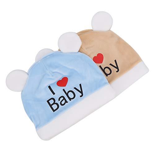 Sombrero para recién nacidos de flexibilidad, sombreros para bebés, de moda para fiestas de bebés(Beige+blue)