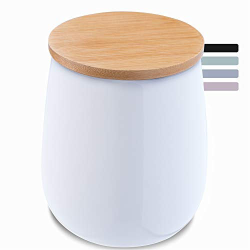 KADAX Kosmetikdose, Aufbewahrungsdose aus Keramik, Wattedose mit Deckel aus Bambus, Wattepadhalter, Vorratsdose, Wattebehälter, Universaldose für Badezimmer, Wattepads, rund (weiß)