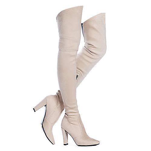 Shoe'N Tale Women Stretch Suede Chunky Heel Thigh High Over The Knee Boots(8,Nude)