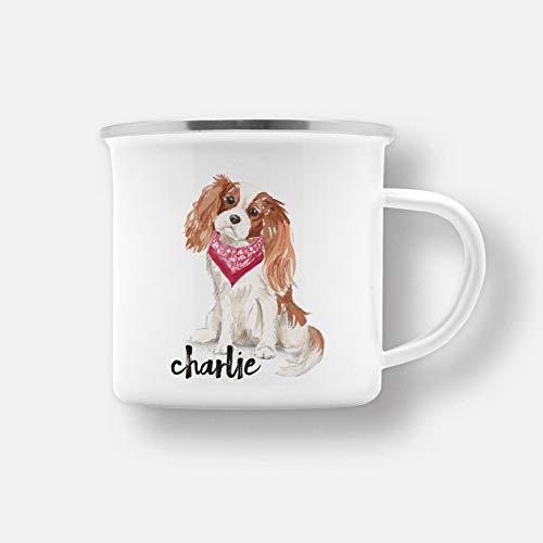 DKISEE Gepersonaliseerde Cavalier Koning Charles Spaniel Hond Emaille Mok Drinkbekers voor Thuisgebruik Office Party Outdoor Mountaineering 10oz