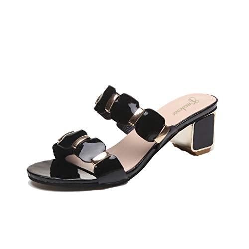 Dames pumps met hoge hakken, modieuze sandalen met open teenparty, sandalen met vierkante hak, partyschoenen.
