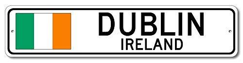 qidushop Dublin, Irland – irische Flagge Straßenschild – Aluminium 10,2 x 45,7 cm, Neuheit Schild, Männerhöhle Straßenschild Irland City Schild Wanddekoration Metallschild Geschenk Straßenschild
