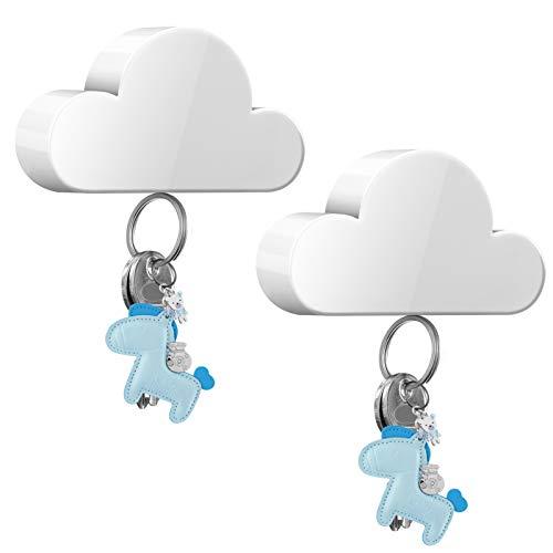 KENOBE Magnetic Key Holder, [2 Pack] Cute Cloud Key Hanger Organizer, Novel Keychain Hooks with Adhesive, Powerful Magnets Key Ring Rack Holder for Wall Door Home Office, White
