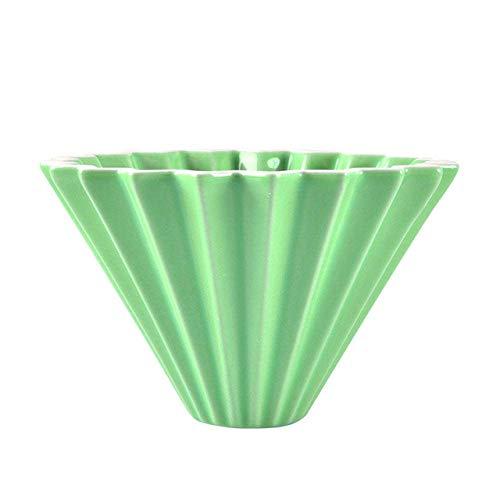 Seesee.u Mokka-Topf, Blumen, Keramik, Kaffeetasse, Espresso, Kaffeefilter, Becher, Origami-Filter, Trichter, Tropffilter, Grün grün