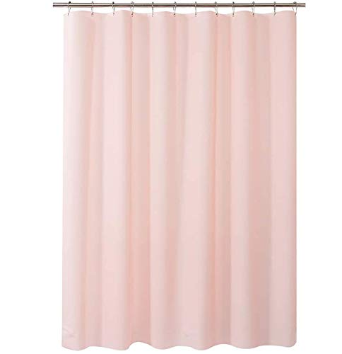 AmazerBath Plastic Shower Curtain, 72 x 72 Inches Pink EVA 8G Thick Bathroom Shower Curtains Eco-Friendly with Stones and Grommet Holes