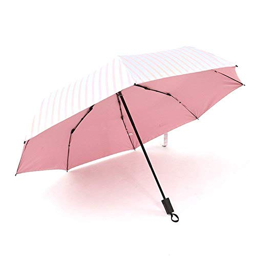 YNHNI Paraguas de mujer, paraguas de verano al aire libre, paraguas de sol UV, paraguas fresco con estilo, paraguas de rayas de plástico de color, portátil (color: rosa)