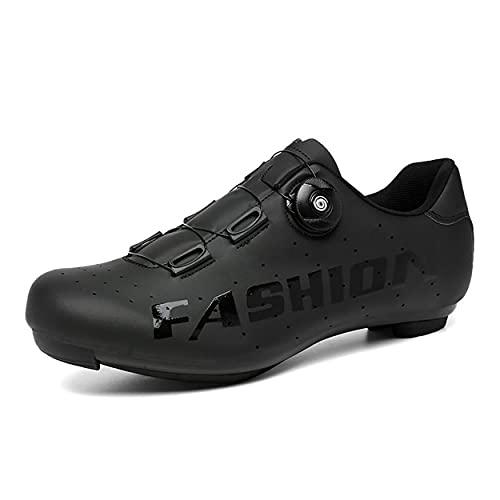Los Zapatos De Ciclismo De Los Hombres, Zapatos De Bicicleta De Las Mujeres Zapatos De Montaña Zapatos De Montaña Spin Bicycle Shoes Compatible con SPD Y Delta Lock SPD-SL,Negro,42 EU