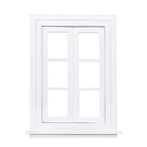 Ydh - Ventana de 6 persianas de madera sin pintar, para muebles de casa de 1/12 cualquier cuarto de baño