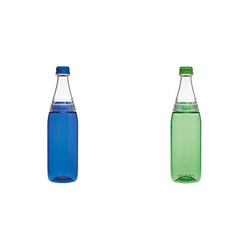 Aladdin Fresco Twist & Go Tritan-Trinkflasche, 0.7 Liter, Blau, Geeignet für Kohlensäure, Spülmaschinengeeignet, Durchsichtig & Fresco Twist & Go Tritan-Trinkflasche, 0.7 Liter, Grün