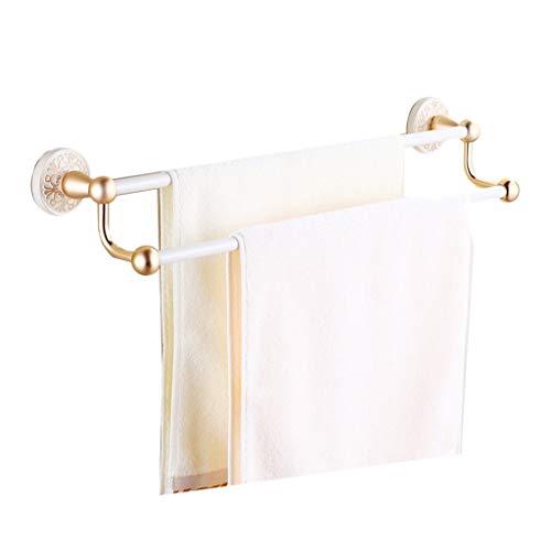 Toalleros Barra de toalla de doble capa de aluminio Europeo Retro Hotel Hogar Baño Accesorios de hardware Accesorios a prueba de agua y óxido Fácil de usar Materiales de protección ambiental Uso dual