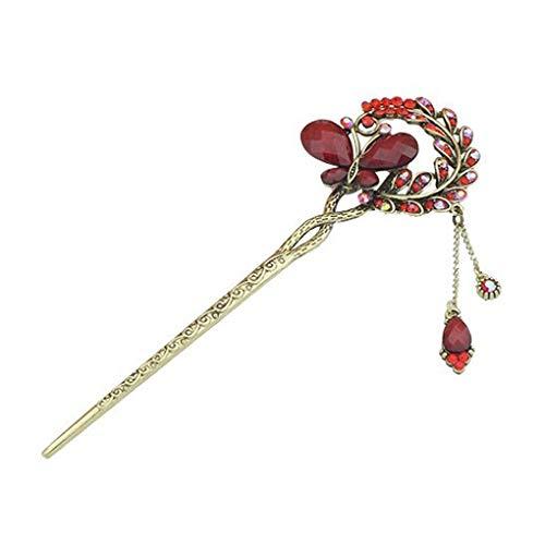 wufeng Women Girls Vintage Crystal Butterfly Hairpin Leaf Hair Clip Flower hair clip Bridal Stick Chopsticks with Chain Tassel