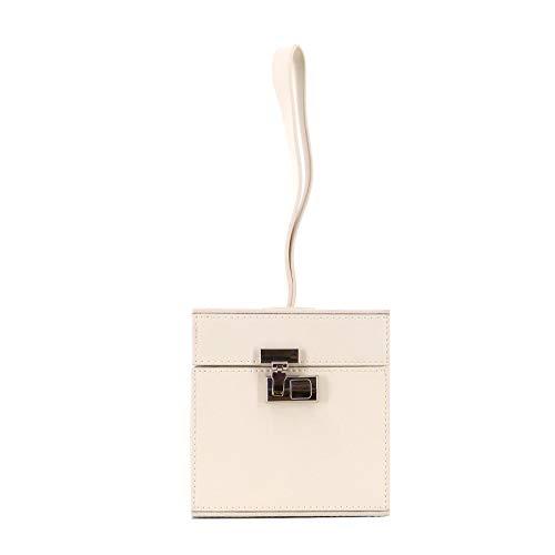 Rouven STUDIO.MUNET Leder Handtasche Tasche/Tuva Mini Cube Box Clutch Tote Bag/klein / 12x22x12 cm/Creme Weiß
