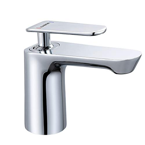 KAIBOR Chrom Waschtischarmatur Wasserhahn Bad Armatur, Messing und Keramikventil Mischbatterie Einhebelmischer, Badarmaturen für Badezimmer Waschbacken und Spüle