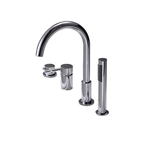 Jiuzhuo Modern 4 Holes Bathroom Bathtub Faucet Roman Tub Filler with Handheld Shower,Chrome