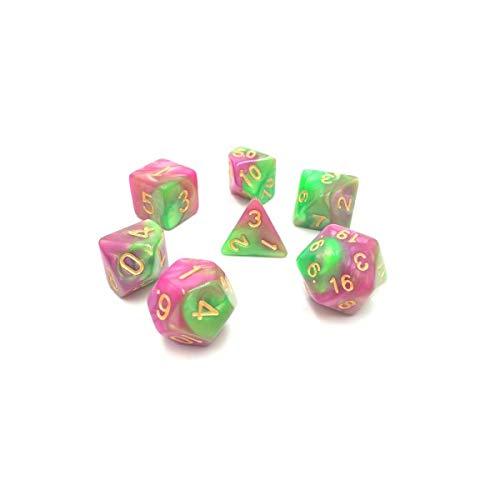 Juego de Dados poliédricos HD D&D para Dungeon y Dragons RPG Juego de rol MTG Pathfinder Juego de Mesa de 7 Dados Set Verde + Rosa Rojo Mezcla de Color