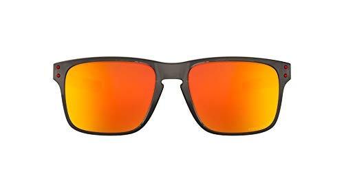 Oakley Men's OO9384 Holbrook Mix Rectangular Sunglasses, Grey Smoke/Prizm Ruby Polarized, 57 mm
