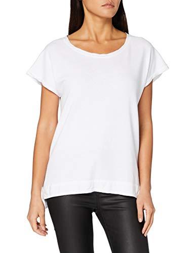 True Religion Damen Wide Crew Tshirt Linen T-Shirt, Weiss, XS