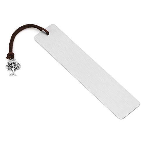 JSDDE Gratis Gravur - Personalized Edelstahl Lesezeichen Bookmark Keltischer Knoten Quasten Buchzeichen Handgefertigt Buch Zubehör (Rechteck 4# (30 * 140mm))