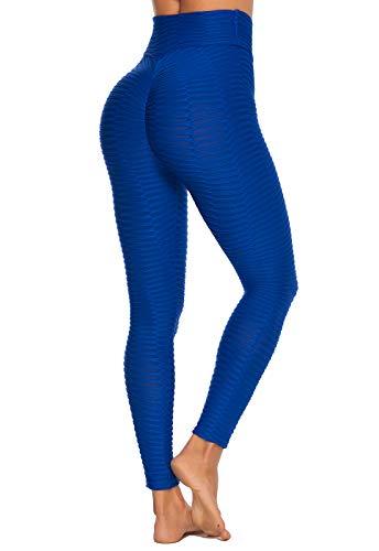 FITTOO Leggings Push Up Mujer Mallas Pantalones Deportivos Alta Cintura Elásticos Yoga Fitness #2 Azul Chica