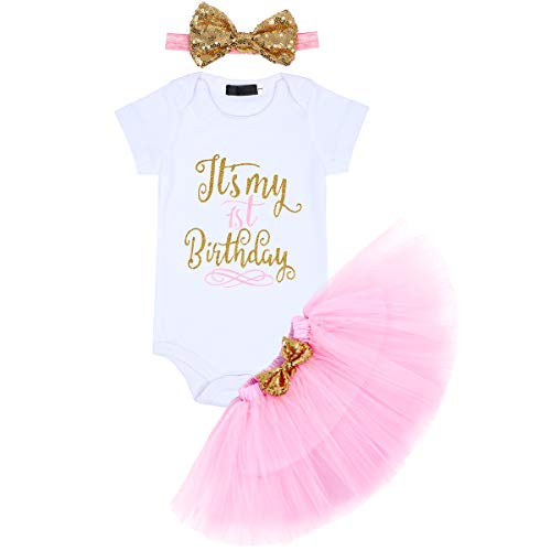 It's My 1/2 / 1st / 2nd Birthday Outfit Baby Girls Romper + Ruffle Tulle Skirt + Sequins Bow Headband Cake Smash Party Dress Easter Valentine's Day Photo Shoot Costume 3Pcs Clothes Set Pink 1 Year