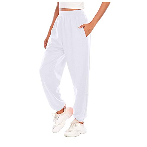 haoricu Sweatpants Jogger Pants Women's Loose High Waist Sports Workout Lounge Pants Trousers White