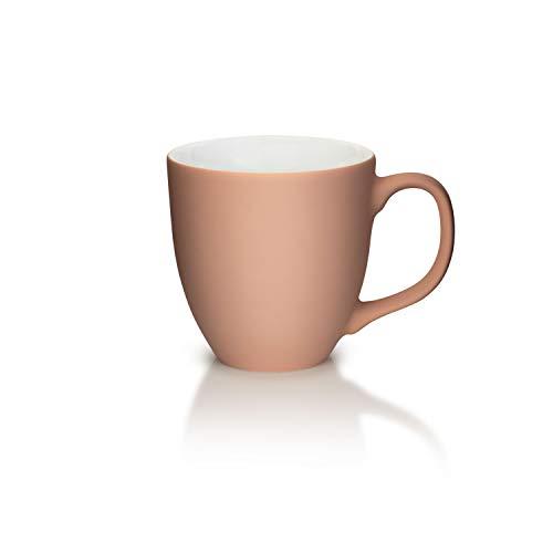 Mahlwerck XXL Jumbotasse, Große Porzellan-Kaffeetasse mit Soft-Touch Oberfläche, in Soft-Caramel, 400ml