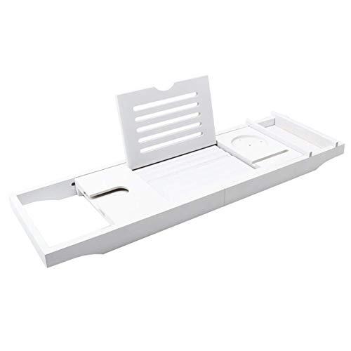 sjdxd Bathtub Trays White Bamboo Bathtub Storage Rack, Bathroom Bath Tub Caddy Shelf with Adjustable Sides, Natural Serving Tray Built-in Holder for Most Bath (Color : Style 1)