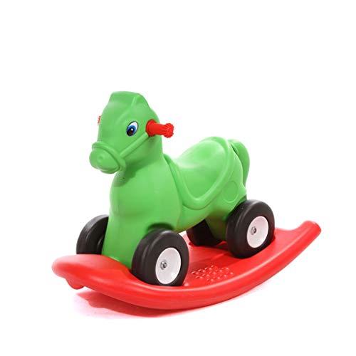 Têtes de cheval à chevaucher Trotteur pour bébé à Quatre Roues à Bascule (Couleur : Green)