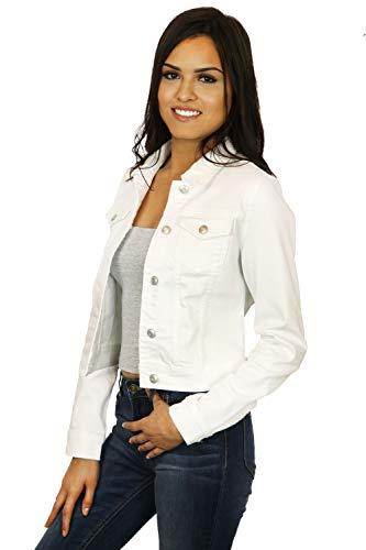 StyLeUp Women's Classic Casual Vintage Denim Jean Jacket/Vest , White Denim - Jacket, Large