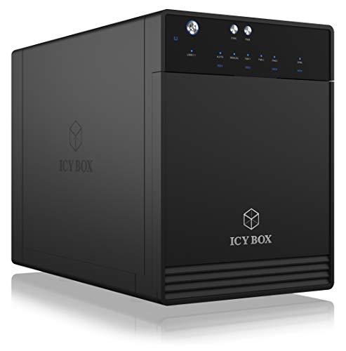 ICY BOX Externes 4-Fach USB-C Gehäuse für 2,5 Zoll & 3,5 Zoll SSD und Festplatten, USB 3.1 (Type-C, Gen 2), JBOD, Lüfter, SATA, Aluminium, Schwarz