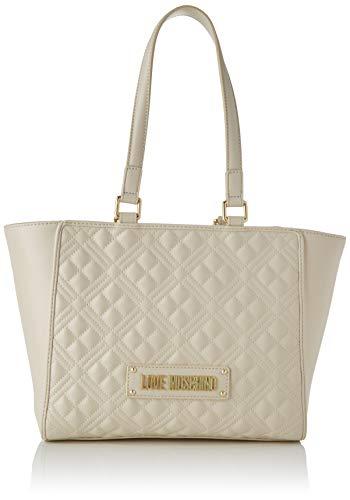 Love Moschino Damen Jc4200pp0a Tragetasche (Tote bag), Elfenbein (Ivory Quilted), 40x20x12 Centimeters