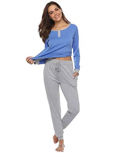 Aibrou - Pijama de manga larga de algodón para mujer, Azul, XXL
